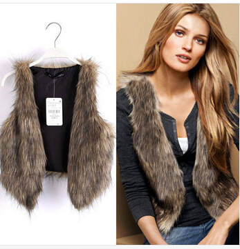 free shipping 2013 new autumn and winter and the wind super major suit are short luxurious Faux Fur Vest Jacket shawl b130 ow(China (Mainland))