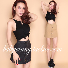 FREE SHIPPING 2016 Autumn New Arrival Vintage All Match High Waist Single Breasted A Line Mini Solid Black Khaki Skirt Women