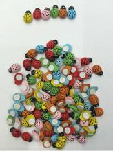 11 11 Hot Sale 20Pcs/pack Wooden Ladybird Ladybug Sticker Children Kids Painted adhesive Back DIY Craft Home Party Holiday Decor(China (Mainland))