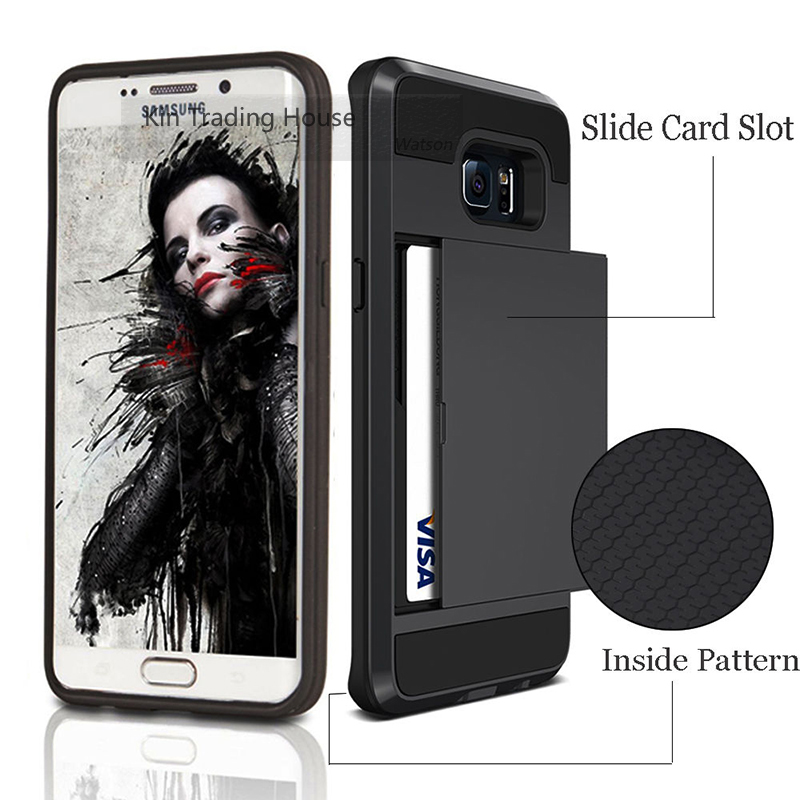 Hybrid Slide Card Slot Holder Hard Wallet Case for Samsung Galaxy S6 Edge S7 Luxury Wallet Credit Card Holder Mobile Phone Cases(China (Mainland))