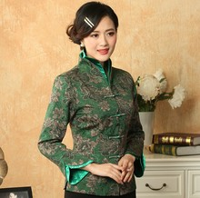 Green Fashion New Chinese tradition Style Women MontherJacket Coat Outerwear Long Sleeves Size: M,L,XL,XXL,XXXL MN055 - Costume store