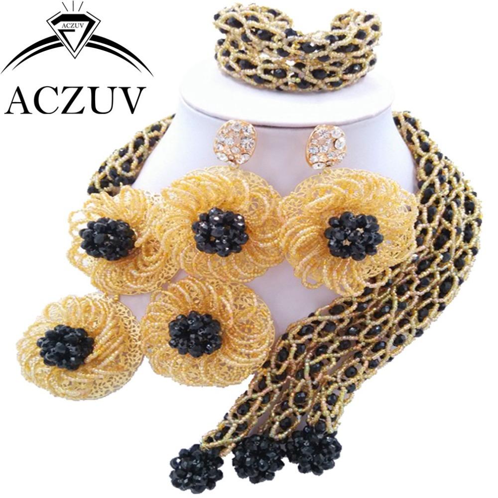 Brand ACZUV African Jewellery Designs Black Gold Crystal Beads Jewelry Sets Nigerian Wedding Necklace AN052(China (Mainland))
