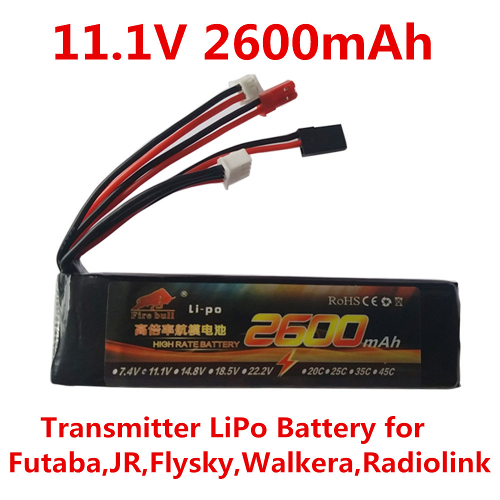 Transmitter LiPo Battery 11.1V 2600mAh Battery of remote control for Futaba,JR. Flysky,Walkera,Radio Transmitter(China (Mainland))