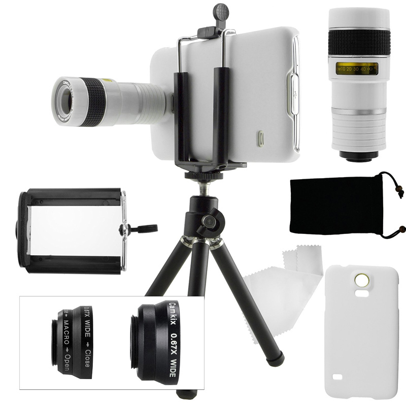 Free Shipping/For Samsung Galaxy S5 Camera Phone Lens Kit:8X Zoom Optical Lens+Awesome 3 Lens+Mini Tripod/Cover Phone Case<br><br>Aliexpress