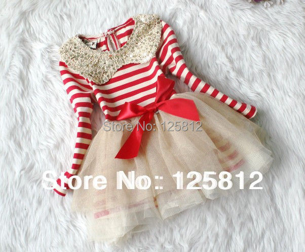 2014 Vestidos De Menina 39 Free Shinping Wholesale Girl Clothing Girls Long Sleeve Dress Stripe Lapel Gauze of The Christmas