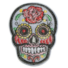 Hot DIY Flower Skull Head Embroidered Iron On Sew On Patch Applique Punk Fashion(China (Mainland))