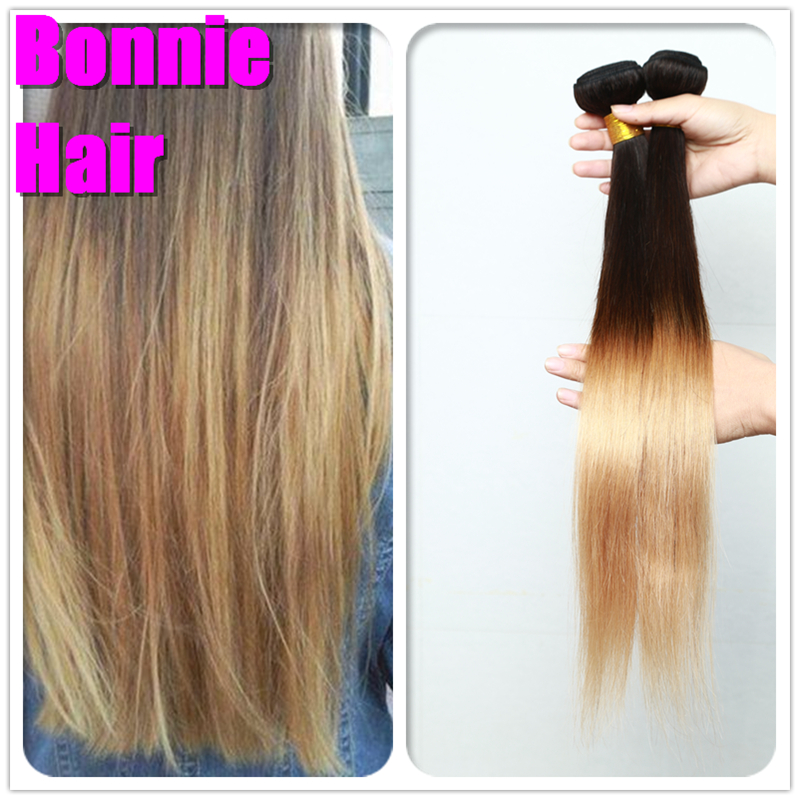 Halo Lady Hair Peruvian Straight Virgin Ombre Hair 3pcs Lot Two Tone Ombre Human Hair Bundles 8-30inch Mixed Length Good Quality