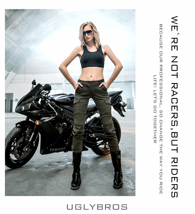 2016 The newest Uglybros MOTORPOOL UBS06 women jeans Motorcycle riding pants Jeans Army Green women pants motor jeans