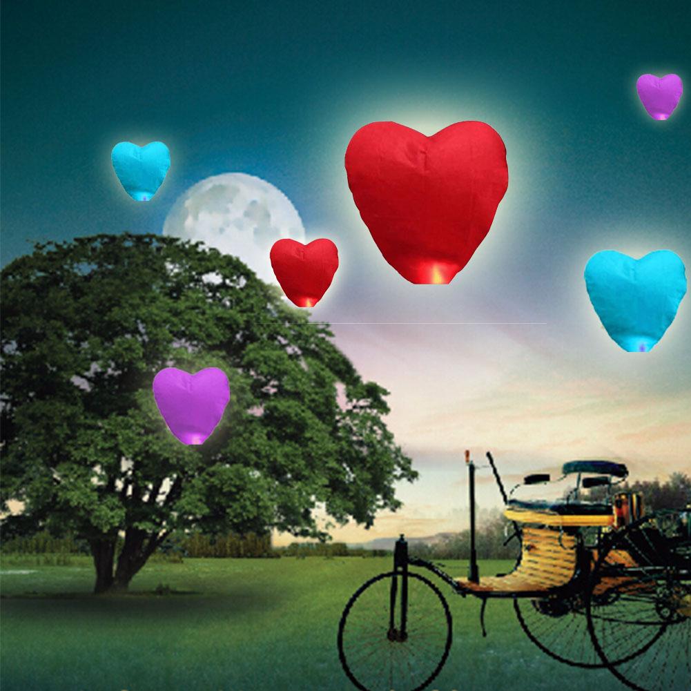 Random Color Hot Air Balloon Kongming Lantern Flying Wishing Lamp Cute Love Heart Sky Lantern Party Favors For Birthday Party(China (Mainland))