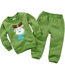 Autumn Winter 2014 Boys Girls Children Christmas Clothes Set Kids Fleece Clothing set infantil conjunto de roupa menina menino
