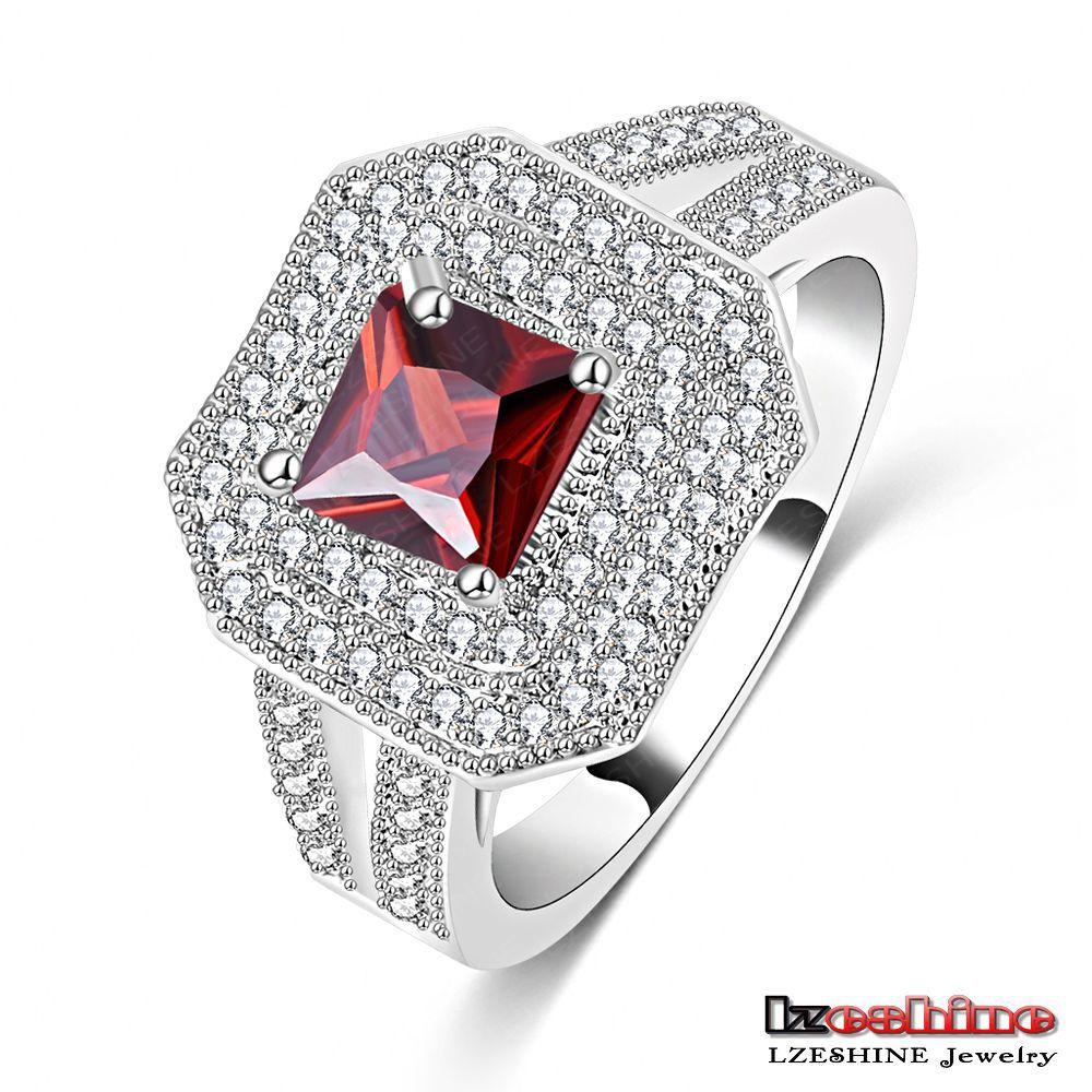 LZESHINE Brand High Quality Punk Wedding Ring Platinum Plated Micro Cubic Red Zircon Fine Jewelry for Women CRI0067-B(China (Mainland))