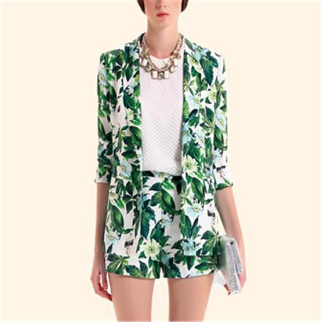 Женщины зеленый цветочный принт blazer с длинным рукавом slim fit outwears casaco ...