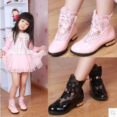 High Quality Winter Kids girls boots fashion brand children shoes cotton-padded shoes female child snow boots
