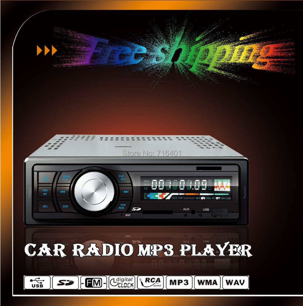 promotion Factory price blue ray in dash car mp3 radio single din with Wireless FM Transmitter USB SD MMC Slot Free shipping(China (Mainland))