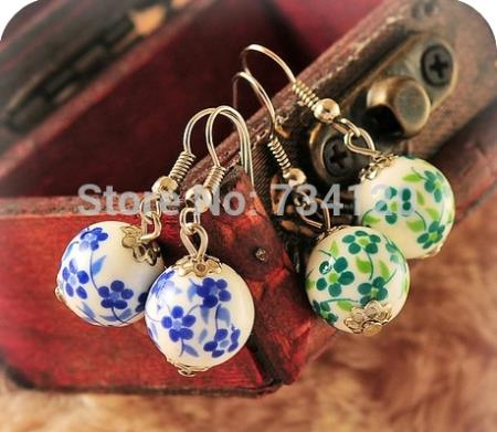 ER189 Three colors choice,Ceramic earring, Blue and White Porcelain Series, earrings Free shipping(China (Mainland))