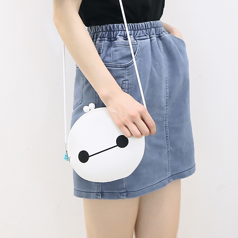 Janpanese Sweet Girl Kawaii Cute Baymax Catroon Sketch Expression Circular Mini Satchels Soft Silicon Chain Bag Hand Bag(China (Mainland))