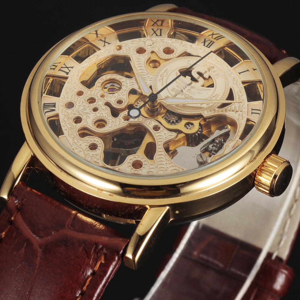2016 new SEWOR BRAND skeleton hollow fashion mechanical man gift clock luxury male business leather wrist military sport watch(China (Mainland))