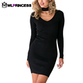 Owlprincess New Autumn lady mini dress Casual Party Dresses o Neck long Sleeve Draped Solid short