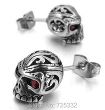 Mens Cubic Zirconia Stainless Steel Gothic Skull Stud Earrings Red Silver Drop Shipping(China (Mainland))