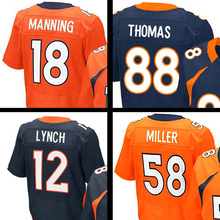Mens #58 Von Miller #18 Peyton Manning #12 Paxton Lynch #88 Eemaryius Thoma Navy Blue Orange Elite 100% Stitched Logos(China (Mainland))