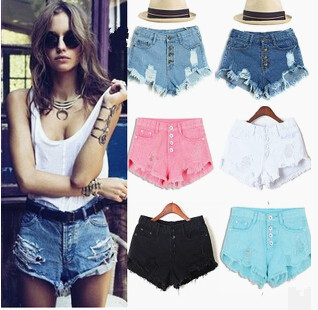 2015 summer style Women's Vintage High Waist Jeans fashion women hole shorts regular solid color denim shorts good quality,s-xl(China (Mainland))