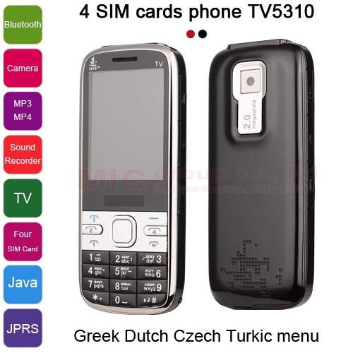 Unlocked Quad 4 Sim Cards 4 Standby FM TV Receive Java Bluetooth Camera MP3 Mobile Phone With Russian Keyboard TV5310 P470(China (Mainland))
