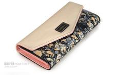 2015 nueva moda sobre mujeres Wallet del Color del golpe 3 Fold flores impresión de la PU carpeta larga monedero de la moneda(China (Mainland))