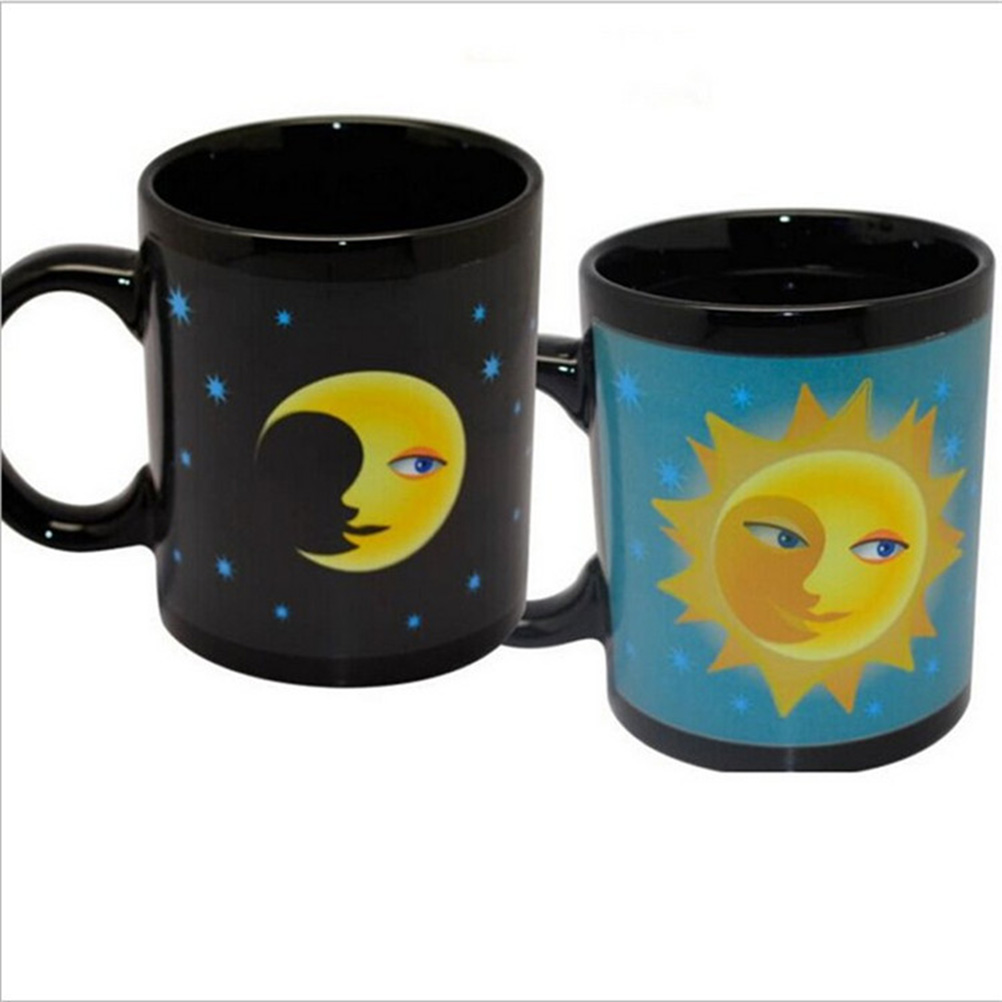 Magic Mug Coffee Tea Milk Hot Cold Heat Sensitive Mug Cup Color-Changing Pixel Cups Gift (Sun and Moon)(China (Mainland))