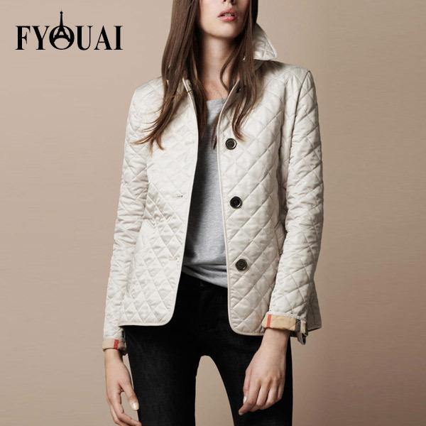 FYOUAI NEW Women Jacket Winter Autumn Coat Brand Design fashion cotton Slim Jacket British Style Plaid Quilting Padded Parkas(China (Mainland))