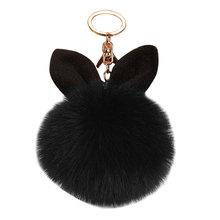 Novo coelho coelho coelho chaveiro pompon macio orelha de coelho bola de pele chaveiro saco femme pom pom chaveiro(China)