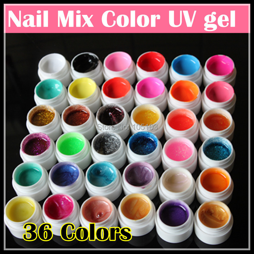 Professional New 36 Mix Colors Nail Art UV gel Pure + Glitter Powder+ Shimmer Colorful Nail Gel UV gel set, Free shipping.(China (Mainland))