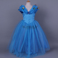 2015 New Movie Cinderella Girl Dress Top Grade Party Princess Dresses With Butterfly Girls Cosplay Costume Kids Clothes