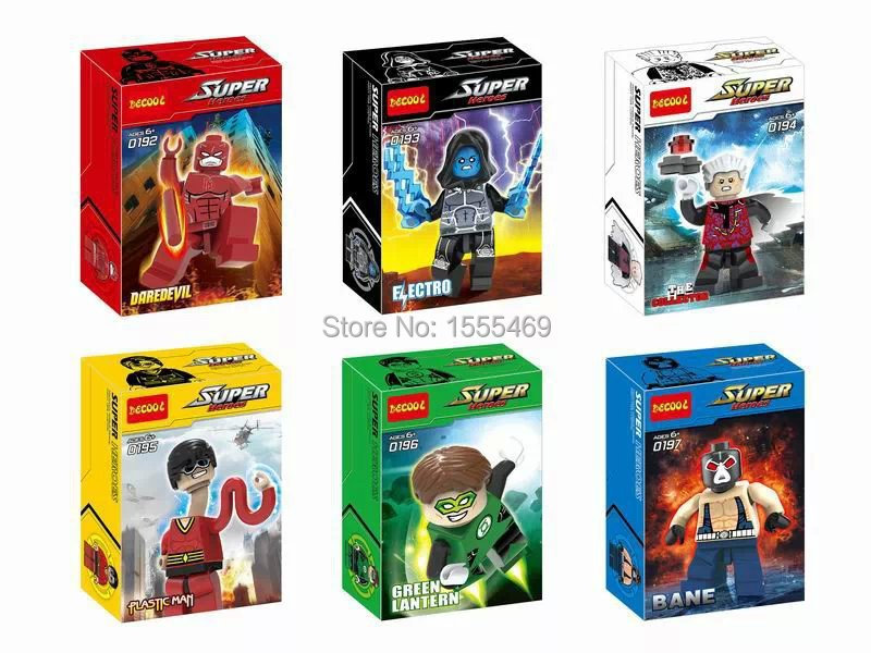 Decool 6Building Blocks Super Heroes MiniFigures DAREDEVIL ELECTRO FLASTIC MAN BANE Bricks Figures Compatible Lego - Happy Shopping Toys Club store
