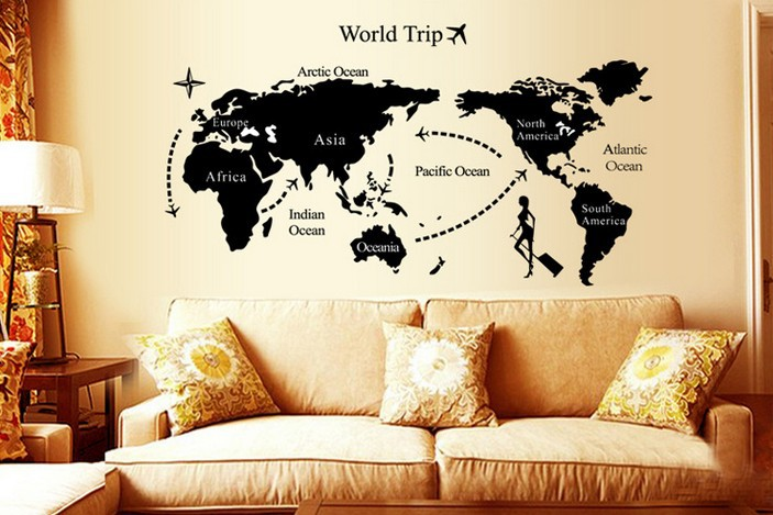 70130cm World Travel Map Wall Sticker Fashion Vinyl Art Mural Decal DIY  K