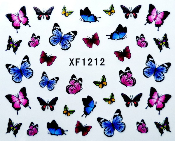 Fashion beautiful DIY watermark cute pink butterfly 3D Design Tip Nail Art Sticker Decal Manicure nail tools XF1212 - Youth Store store
