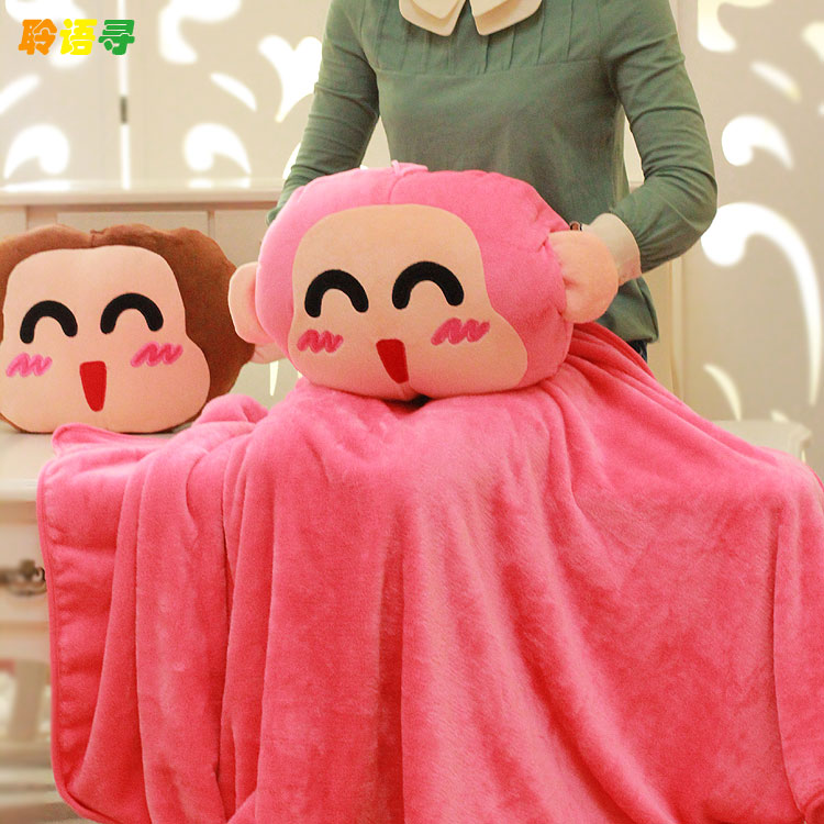 Hot sale 1pc 180cm lucky naughty monkey plush cushion + rest blanket warm hand hold pillow stuffed toy children birthday gift<br><br>Aliexpress