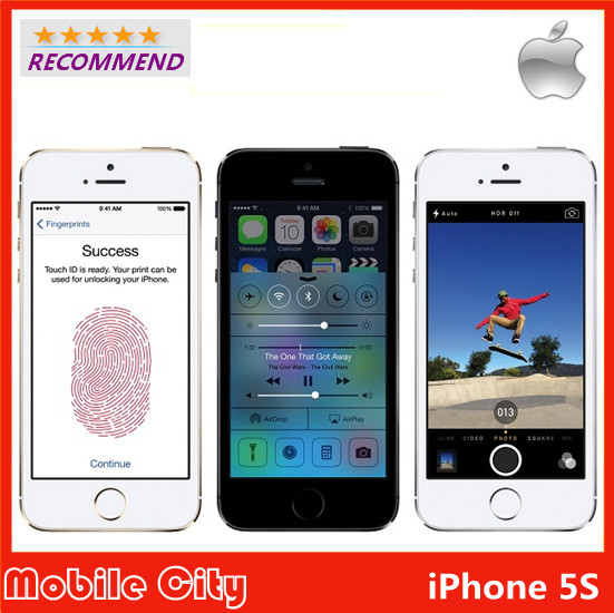 "Original iPhone 5S Refurbished Unlocked Apple Cell Phone iOS 8 4.0"" IPS HD Dual Core A7 GPS 8MP WIFI 16&32&64GB Free Shipping(China (Mainland))"