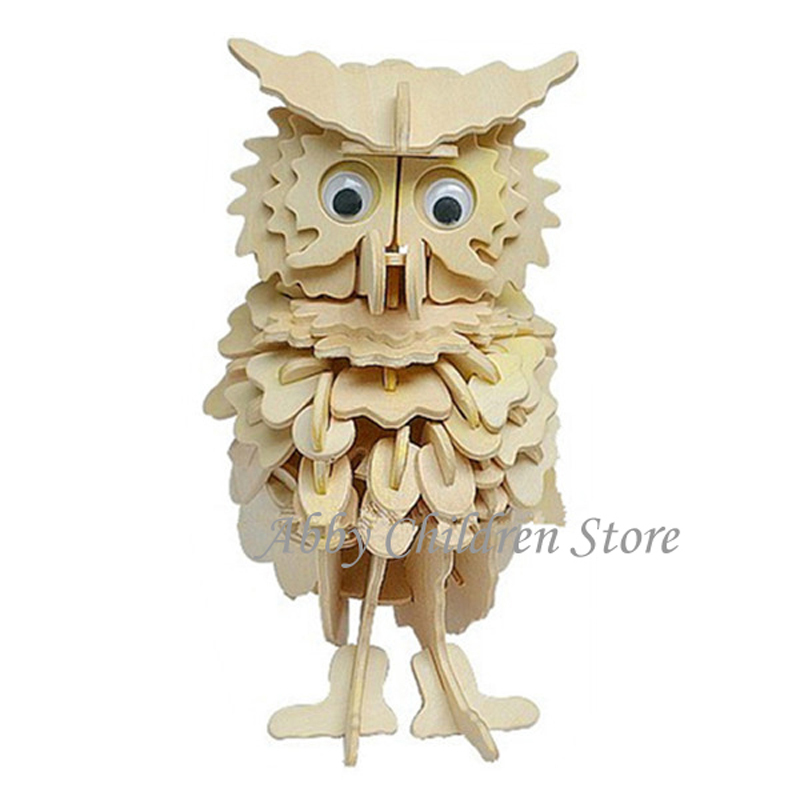 Wood Puzzle Owl Model 3D Puzzles Wooden Puzzles DIY Toy Woodcraft Handmade Toy Learning Educational Toys For Children Kids Adult(China (Mainland))