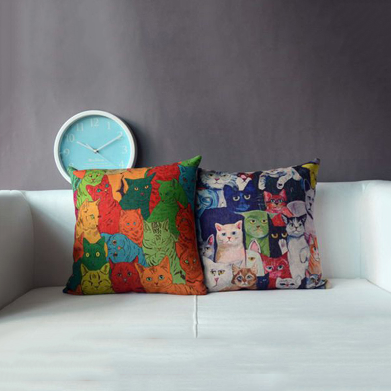 45 45cm Retro Cat Cushion Cover Linen Throw Pillows Cover Pillowslip Pillowcase Home Decor
