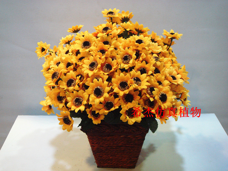 mini jardim acessorios:Flor Artificial flor de seda Mini girassol Artificial acessórios para