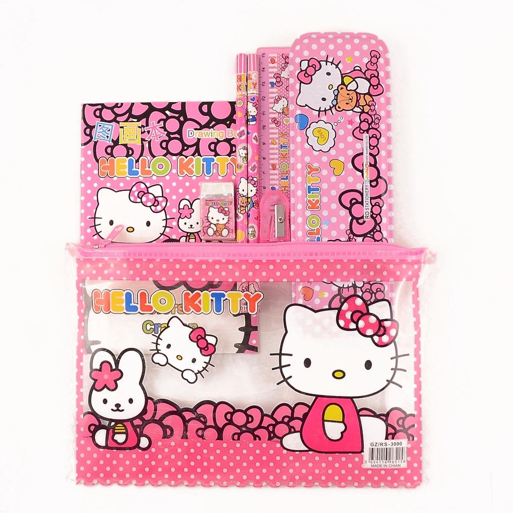 1 set children hello kitty school Pencil Case for girls cartoon pencil box high quality school supplies stationery set kids gift(China (Mainland))