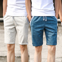 Summer new fashion elastic waist shorts men Slim casual men's beach shorts Fresh breathable linen shorts(China (Mainland))