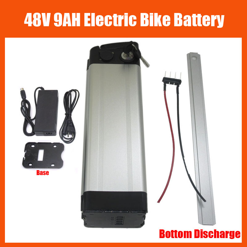 Free Shipping Silver fish battery 700W 48V 9AH Ebike Lithium battery with 54.6V 2A charger and 15A BMS Bottom Discharge(China (Mainland))