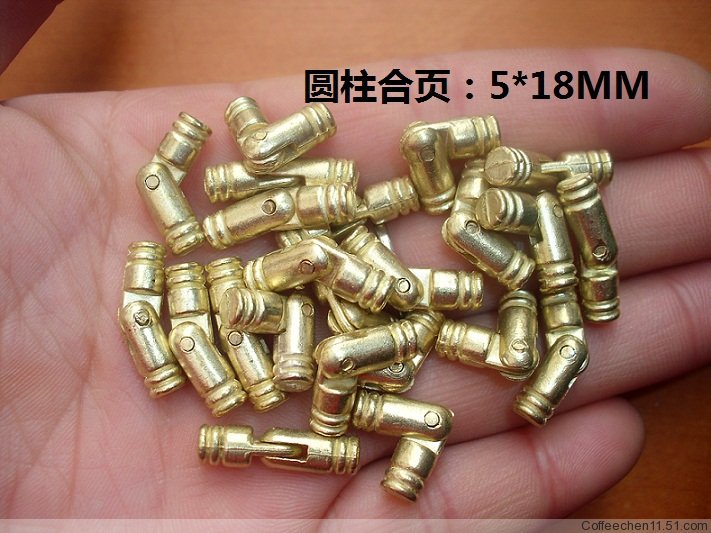 2014 Wholesale Hardware Furniture accessories 5*18mm Cylindrical Hinge Wooden Gift Jewelry box hinges 100pcs/lot Freeshipping(China (Mainland))