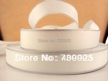 5Y4568 kerryribbon free shipping 1 '' double face sliver line white ribbon Grosgrain ribbon