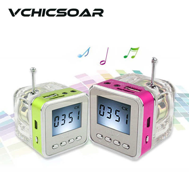 New Digital Mini Portable FM Radio With Speaker Screen Colorful LED Lights Display Support MP3/4 PC Phones Micro USB SD/TF Card(China (Mainland))