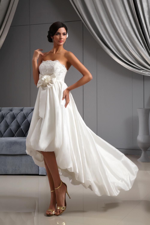 Nna1123 front short and long back beaded taffeta wedding for Short beaded wedding dress