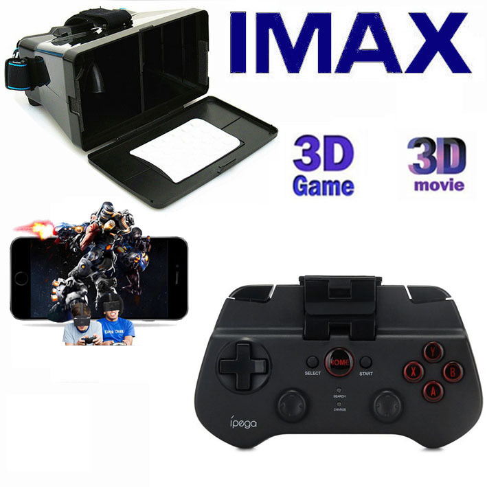 "Head Mount Virtural Reality 3D VR Glasses Google Cardboard + Bluetooth Remote Control Gamepad Controller for 4~6"" Smartphones(Hong Kong)"
