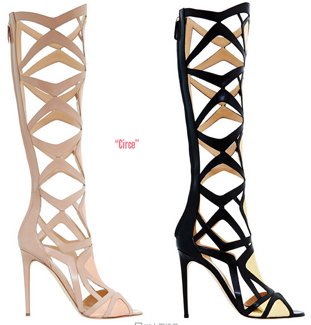 Circe Summer Style Gladiator Cutouts Knee High Women Sandals Boots Heels Pumps Fashion Party Shoes Woman