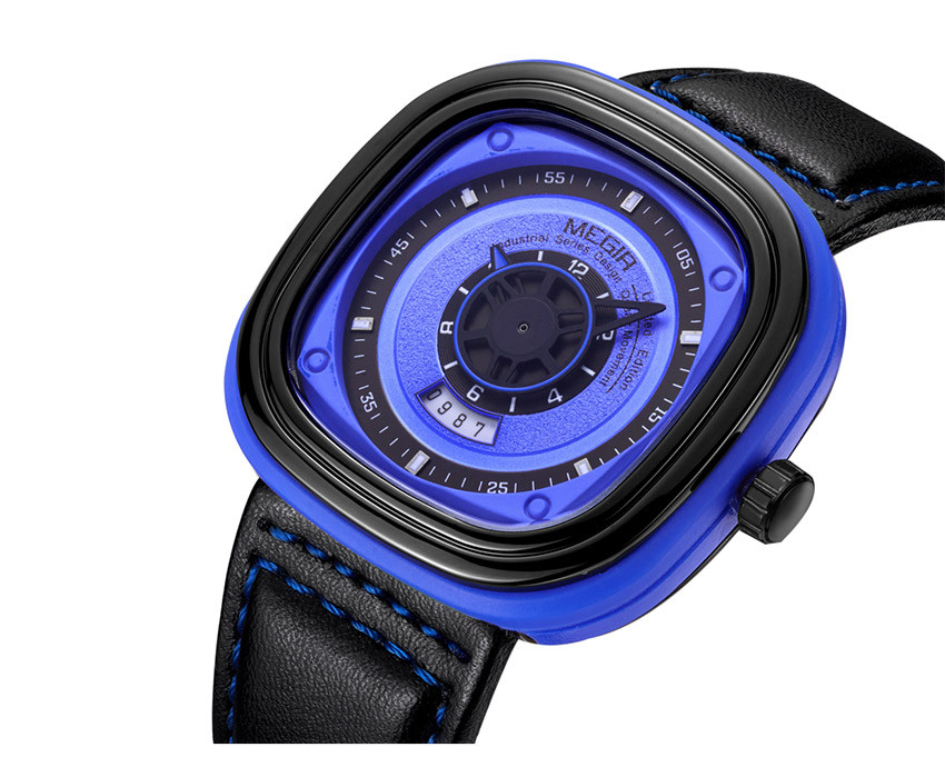 Megir Mens Black Leather Strap Square Dial Quartz Watches Fashion Wristwatch with Calendar Date for Man Orange Blue 2027